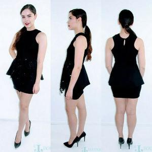 NWT CJJBOUTIQUE TWO PIECE BLACK PEPLUM DRESS